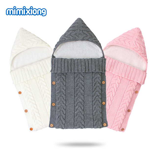 Baby Sleeping Bags Stroller Autumn Envelope for Newborn Winter Warm Infant Sleep Sack Cable Knitted Toddler Outdoor Swaddle Wrap