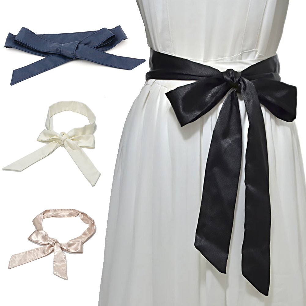 Casual Fashion Self Tie Women Waist Belt Wrap Around Silk Ribbon Soft Wide Corset Bowknot Ladies Dress Decor Waistband