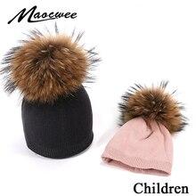 Новинка, Детская вязаная шапка с помпоном, Шапка-бини с арбузом, меховая помпон, зимняя шапка для мальчиков и девочек, теплая мягкая шапка с черепами