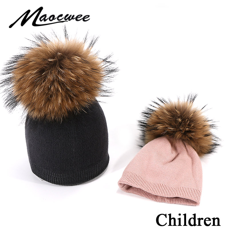 2019 New Children's Knit Pompon Hat Watermelon Beanie Hat Fur Pom Pom Winter Hat Boy Girl Warm Skullies Bone Kids Baby Soft Cap