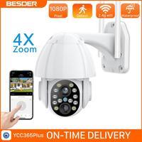BESDER HD 1080P telecamera PTZ Wifi a doppio obiettivo monitoraggio automatico esterno Cloud sicurezza domestica telecamera IP Zoom 4X telecamera Speed Dome Audio