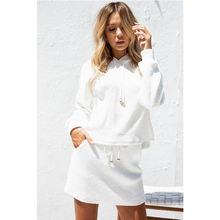 Новинка Осень 2020 Женский свитшот с капюшоном и мини юбка 2
