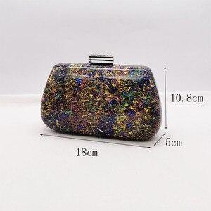 Image 5 - Nieuwe Mode Kleurrijke Acryl Zakken Luxe Vrouwen Messenger Bags Elegante Marmeren Avond Koppeling Tassen Party Prom Wedding Handtassen