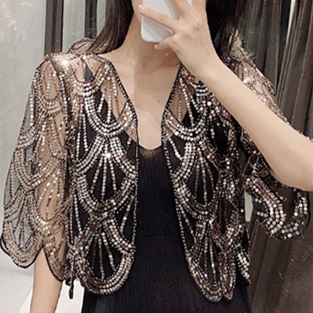 Women Jacket Fashion V-neck Short Cardigan Women Little Shawl Summer Short Sleeve Hollow Lace Dress Shawl Cape Jackets D493 1