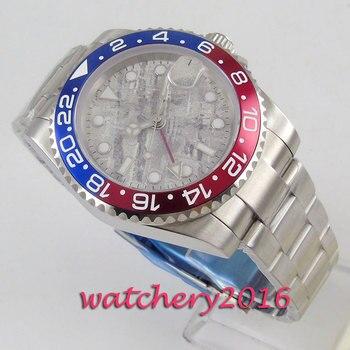 40mm Bliger cadran gris bleu rouge lunette saphir verre GMT Date mouvement automatique montre hommes