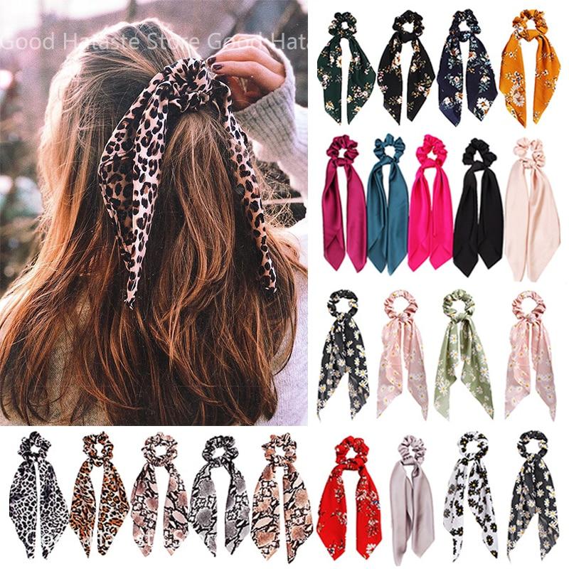 Ponytail Scarf Hair-Accessories Bow Elastic-Hair-Bands Satin Long-Ribbon Print Women Scrunchies