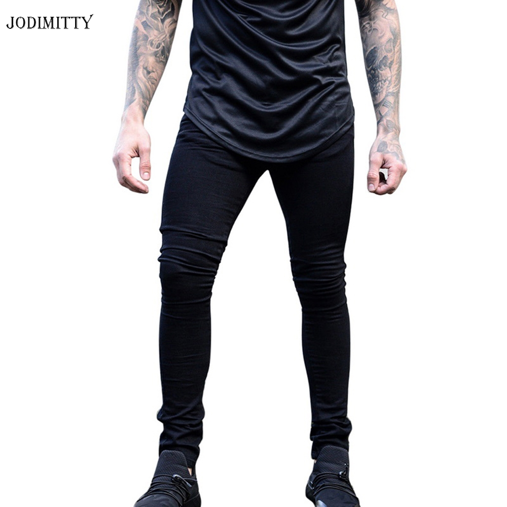 Jodimitty Man Casual Denim Biker Holes Jeans Pants Brand New Men Black Jeans Skinny Stretch Slim Fashion Hip Hop Denim Pants