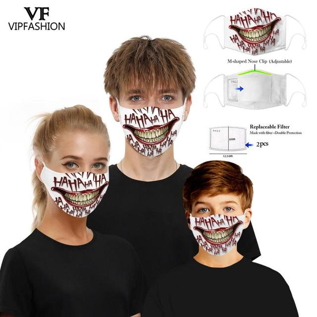 VIP FASHION New Funny Adult Kids 3D Grimace Ghost Printed Face Masks Cotton Mouth Mask Clothing Accessories For Party 3