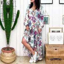 Women's Summer Sundress ZANZEA 2020 Bohemian Printed Maxi Dress Casual Puff Sleeve Tunic Vestido Fem