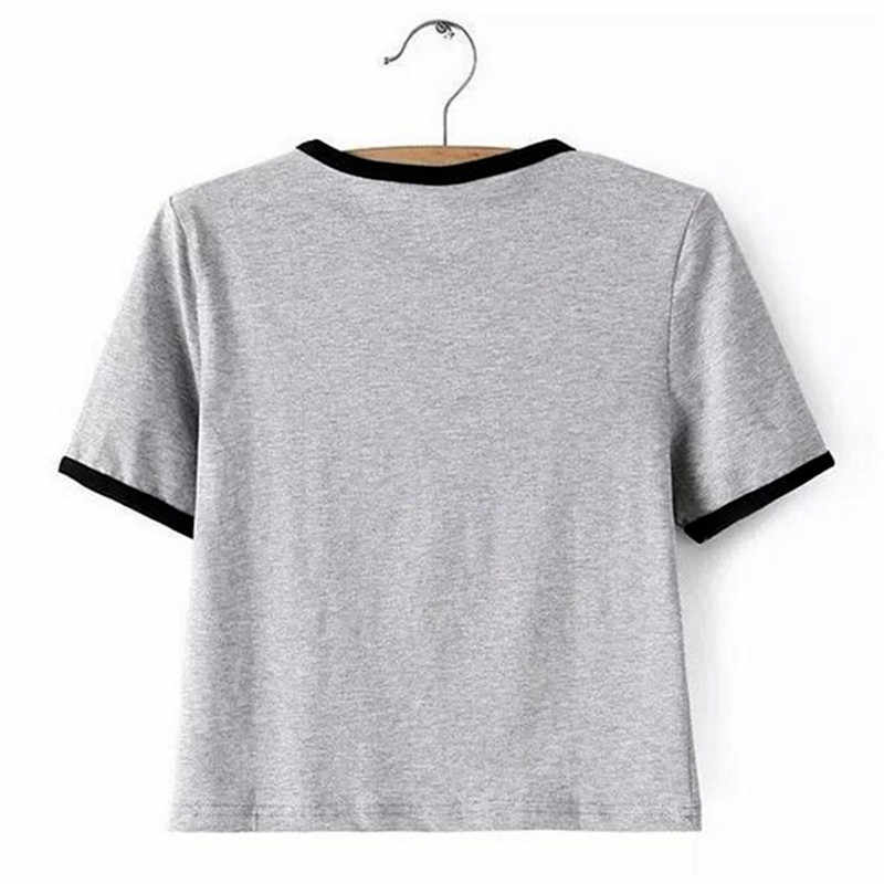 2019 Harajuku חדש אופנה בנות T חולצת נשים מודפס חולצות אפור/פס טי קיץ סגנון חולצה בתוספת גודל אישה מזדמן T חולצות