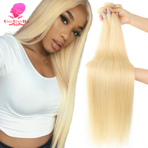 QUEEN BEAUTY 1/3/4 613 Blonde Hair Extensions Brazilian Hair Weave Bundles Straight Remy Human Hair 26 28 30 32 34 36 38 40 inch(China)