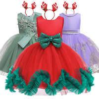 Vestito da bambina Vestito da principessa di Natale Vestito da festa per bambini Elegante vestito da ragazza di fiore Vestito da