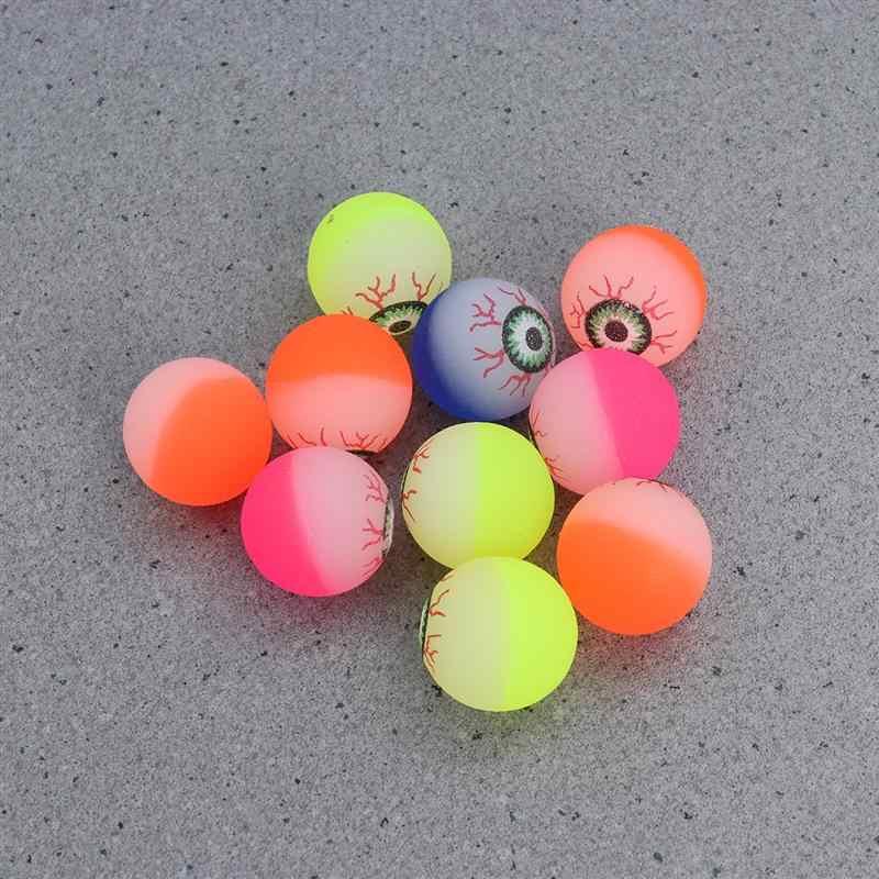 10 pçs 32mm brilho no escuro dia das bruxas bolas bouncy assustador olho bolas de brinquedo brilhante festa de halloween decorações diy (cor aleatória)