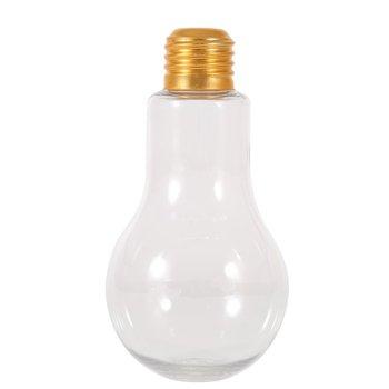Creativo verano bombilla botella de agua breve moda Linda leche jugo forma de bombilla de luz taza a prueba de fugas botellas de plástico vasos de fiesta