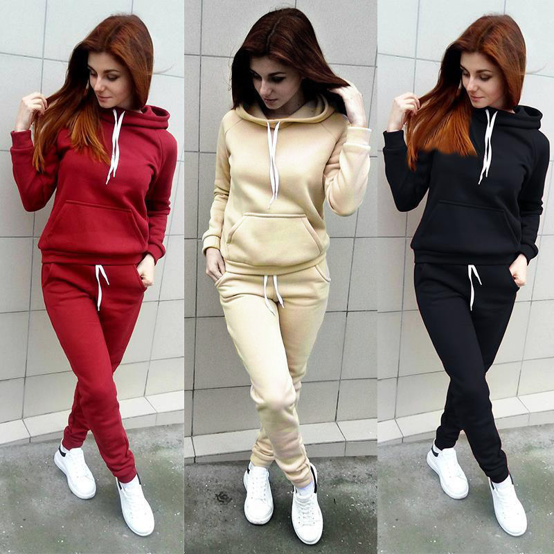 2 Piece Set Women Long Sleeve Hoodies Casual Warm Clothes Pants Solid Tracksuit Ladies  Hooded Sweatshirts Tops Pullover Jumper