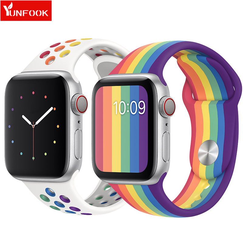 Pride Strap For Apple Watch Band 44 Mm 40mm Silicone Belt Iwach Band 42mm 38mm Bracelet Apple Watch Series 5 4 3 38 2 42 40 44mm