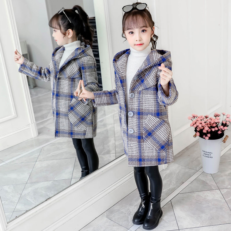 Kids Girl Autumn Winter Woollen Coat Hooded Plaid Long Jacket Thick Warm Clothes