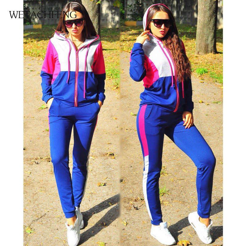 2020 패션 스트라이프 후드 티셔츠 바지 Tracksuit 여성 스포츠 정장 긴 소매 지퍼 복장 2 조각 세트 여성 의류