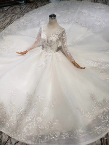 Image 4 - BGW HT569 Ball Gown Wedding Dresses Organza Illusion O neck Long Tulle Sleeves Corset Wedding Gown With Long Train 2020 Fashion