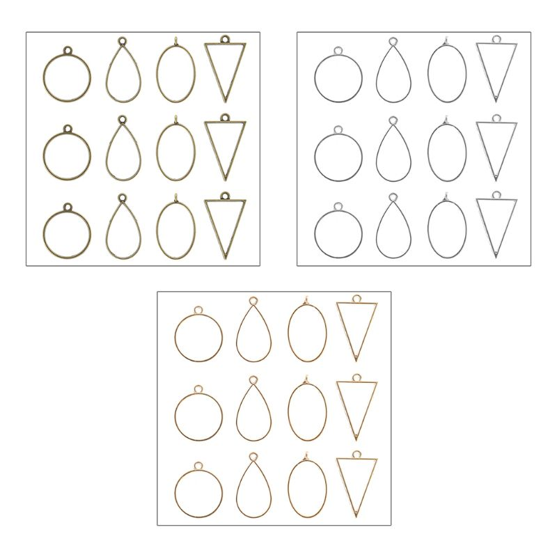 12 Pcs/set Epoxy Border Geometric Hollow Pendant Frame DIY Resin Crafts Necklace Bracelet Jewelry Accessories
