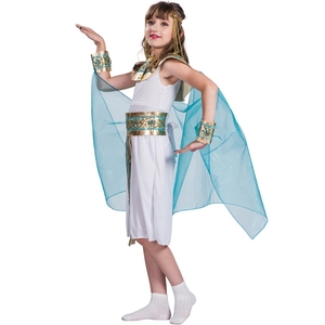 Image 2 - Disfraz de Halloween de Cleopatra azul para niños, Cosplay de Halloween con la espalda en el egipcio como la famosa reina, juego de rol histórico