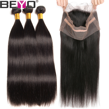 360 Lace Frontal With Bundles Peruvian Straight Hair Bundles With Closure 100% Human Hair Bundles Non Remy Bundle Deals Beyo image