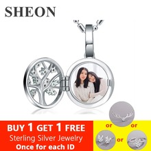 SHEON 925 Sterling Silver Personalized Engraved Family Tree Locket Photo Necklace Custom Jewelry for Mom