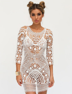 Swimwear Women Cover Up Women White Lace Tunic Beach Dress Clothing Backless Bathing Suit Crochet Bikini Swimming Beach Wear