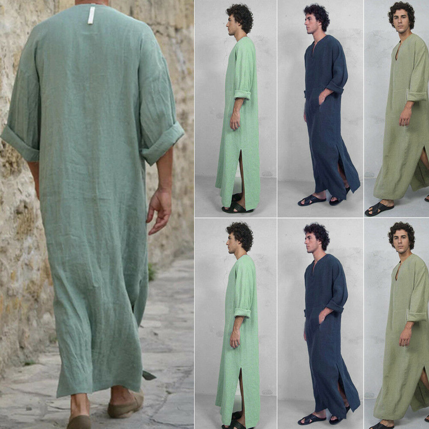 Traditional Muslim Costumes Islamic Men Outfits Long Turkish Kaftan Middle East Dubai Arab Jubba Thobe V-neck Loose Prayer Robe