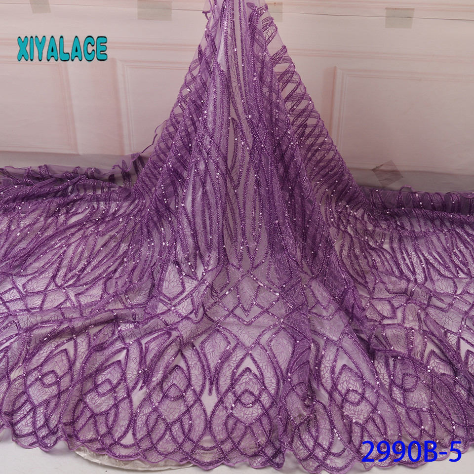 African Lace Fabric Pink Sequins Lace Fabric Organza Nigerian Net Laces Fabric Bridal High Quality French Tulle YA2990B-5