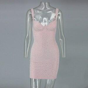 Image 4 - COSYGAL Vestido corto femenino de corte bajo para invierno y otoño, minivestido Sexy con diamantes para mujer, para discoteca, 2019