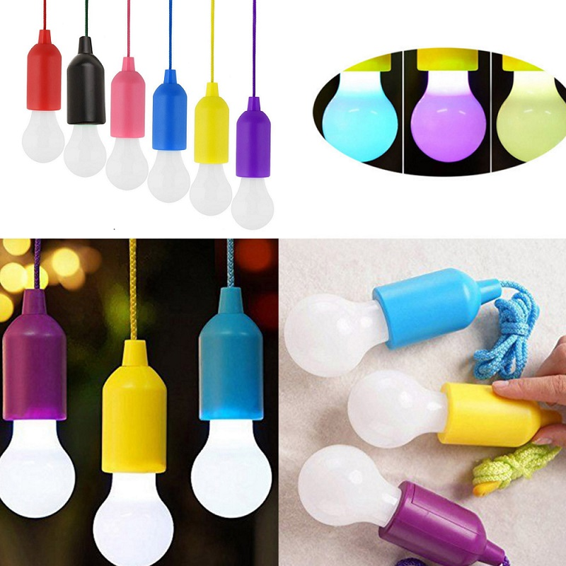 Creative Hanging Lamp Portable LED Pull Cord Light Bulb Outdoor Garden Camping Lantern Battery Powered Colorful LED Night Light