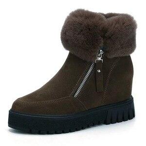 Image 5 - SWYIVY espadrilles décontractées femmes chaussures compensées femme bottes dhiver 2019 neige chaude plate forme femme chaussons court en peluche bottines femme