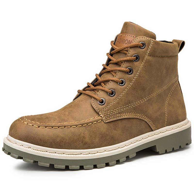 HEFLASHOR 2019 męskie buty jesienne buty wczesnozimowej męskie buty fajne męskie buty moda Street obuwie męskie pojedyncze botki