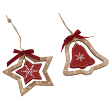где купить Set of 4 Christmas decoration wooden hanging ornament with heart-shaped mini tree star design jingle bell design home decoration дешево