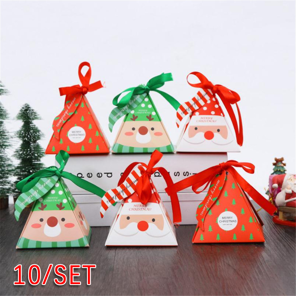 40^10PCS Creative Christmas Candy Wrap Gift Box Christmas Baking Small Pack Carton Decoration West Cookie Bag Christmas Supplies