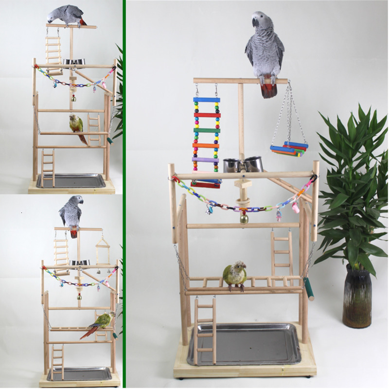 96*33*48cm Wood Parrot Playground Bird Play Stand Bird Perch With Swing Ladders Feeder Bite Toys  Activity Center Bird Play Rack
