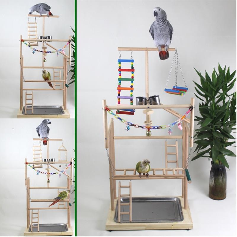 96*33*48cm Wood Parrot Playground Bird Play Stand Bird Perch With Swing Ladders Feeder Bite Toys  Activity Center Bird Play Rack