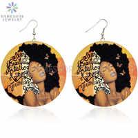 SOMESOOR-pendientes de gota de madera con pelo Afro Natural para mujer, aretes sexys, refranes negros inspiradores, ambos lados, estampados, regalos