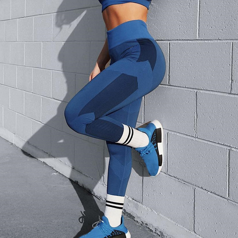 2019 Patchwork High Waist Leggings Folding Fitness New Pants Women Active Legging Pants Sports Leggings  Push Up Leggins