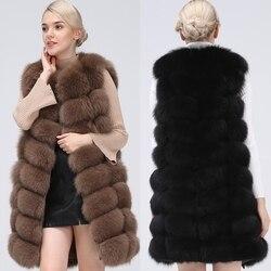 Natuurlijke Real Fox Bont Vest Natuurlijke Bontjas Voor Jas Vrouwelijke Jassen Vest Lange Bontjassen Echte Bontjas vos Vest Jas