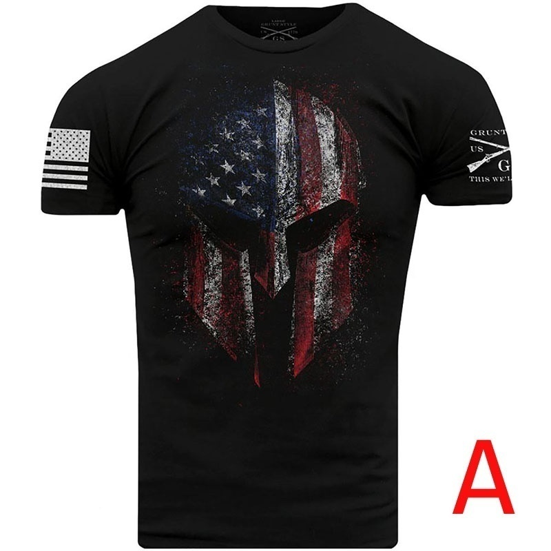Zogaa 2019 Men's New Fashion T-Shirts Man's O-Neck Solid T-shirts Male Skull Print Casual Streetwear Shirts One Color Two Styles