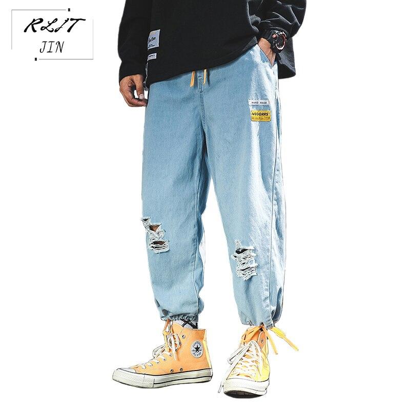 RLJT.JIN Trend Direction 2019 Hot High Street Hip-hop Style Harem Pants Mens Hole Type Pocket Contrast Color Style Baggy Jeans