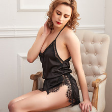 Pajama Sets Satin Backless Sexy Babydolls for Women Halter Pajamas with Lace V-Neck Home Suit for Women Soft Women's Summer Suit