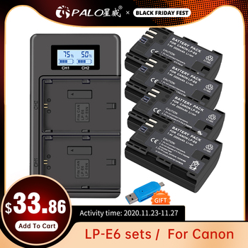 PALO LP-E6 Batteries Charger Bateria Camara Deportiva For Canon lpe6 lp e6 Action Camera Battery EOS 6D 7D 5D Mark II III IV 60 dste bg e20h battery grip for canon eos 5d mark iv 5div 5d4 with remote control dslr camera