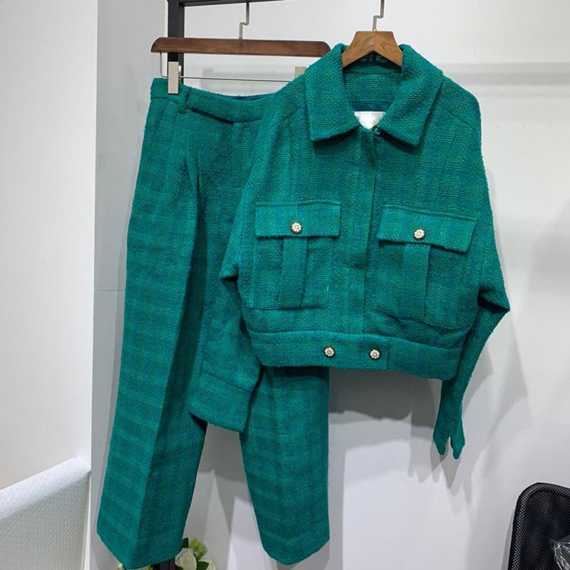 2020 Spring Women's High Quality 100% Silk Lining Wool Coat +tweed Pants Chic Women Jackets Pantsuit B502