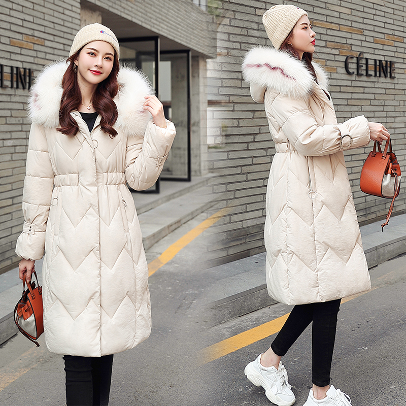 2020 Winter New Parkas Womens Thicken Down Cotton Jacket Coat Warm Down Cotton Coats Female Hooded Solid Jackets Long Slim Thick