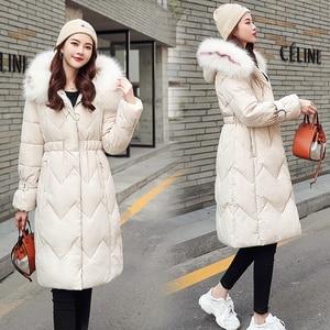 Image 3 - 2020 зимняя новая парка, женская утепленная пуховая хлопковая куртка, пальто, теплые пуховые хлопковые пальто, женская однотонная куртка с капюшоном, длинные плотные приталенные куртки