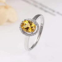 925 silver plated 18k gold inlaid natural topaz ring for woman LBA03