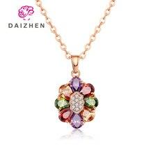 Красочное круглое ожерелье с подвеской в виде цветка модное